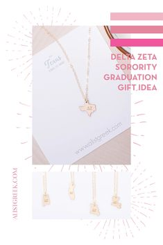Spoil your Delta Zeta Grad with a custom sorority state necklace! Delta Zeta Grad Gift | DZ Sorority State Necklace | College Graduation Gift Idea | Grad Gift for Her | Grad Gift for Girlfriend | Grad Gift for Daughter | Grad Gifts for Best Friends | Personalized State Necklace | Sorority Graduation Necklace #HappyGraduation #SororityGrad Kappa Alpha Theta, Pi Beta Phi, Alpha Chi Omega, Delta Sorority, Sigma Tau, Tri Delta, Delta Zeta, Phi Mu, Sorority Graduation