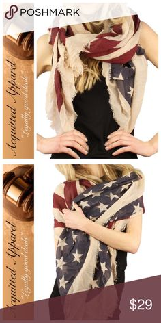 """Americana Red White Blue Flag Antique look Scarf Large Americana scarf. Size 70""""x40"""". Huge. Can be styled a multitude of ways. Perfect for year around wear. Cool vintage frayed edges with iconic American style. Light weight and comfortable. Acquitted Apparel Accessories Scarves & Wraps"""