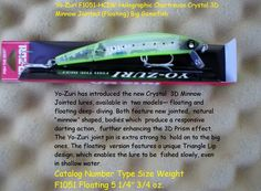YO-ZURI (F1051-HCIW) CRYSTAL 3D MINNOW JOINTED FLOATING LURE, HOLOGRAPHIC CHARTREUSE SILVER 5 1/2 INCH X 3/4 OZ