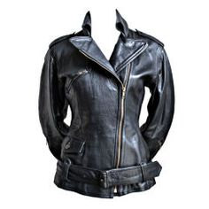 Vintage-1990s JEAN PAUL GAULTIER fitted black leather motorcycle jacket