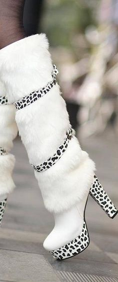 white knee high fur cheetah boots....that's a mouthful!  | LBV