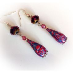 Earrings, polymer clay, pink and blue, Teardrop shape. ($11) ❤ liked on Polyvore featuring jewelry, earrings, garnet drop earrings, tear drop earrings, drop earrings, blue bead earrings and blue teardrop earrings