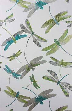 Matthew Williamson in collaboration with Osborne & Little. The Dragonfly Dance wallpaper from the 2015 Samana collection. A signature pattern from Matthew's fashion collection is reinterpreted here in shimmering metallics. Dragonfly Wallpaper, Dragonfly Art, Green Wallpaper, Dragonfly Drawing, Funky Wallpaper, Botanical Wallpaper, Matthew Williamson, Samana, Dance Wallpaper