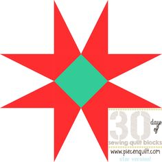 The Pineapple Star Quilt Block is a fun star block made from half-rectangles to make the arms of this star extra long and pointy. Each star quilt block is sewn with teal and red fabric, an unconventional combination that really leaps off the quilt.
