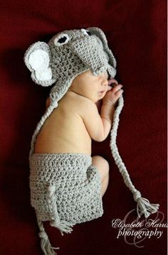 Crocheted elephant hat from Mimi's Babies