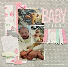 Baby girl scrapbook layout created by @Scrappin' 2LittlePrincesses using @Pebbles Inc. Special Delivery collection #scrapbooking #baby #girl