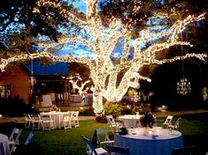 oooh, love the chandelier hanging off the tree! How pretty for a back yard wedding reception :)