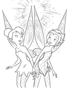 Disney Fairies Tinkerbell Princess Coloring Outline Pages Elves Crayon Art Colouring Printable