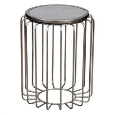 Spokes Wire Side Table – Silver