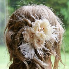 Champagne Bridal Fascinator Hair Accessory by FancieStrands