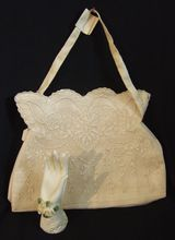Romantic Embroidered Voile Fabric Purse in Ivory Tone Philippines