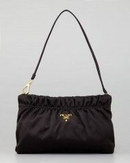 Prada Ruched Satin Small Shoulder Bag in Black (nero)