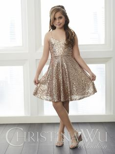 874292e682f This Christina Wu 32761 short junior bridesmaid dress features a fully  sequined A-line silhouette