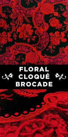 Black and Red Floral Cloqué Brocade Textile Pattern Design, Textile Patterns, Sewing Patterns, Fabric Board, Kashmiri Shawls, B And J Fabrics, Kinds Of Fabric, Fabric Names, Baroque Fashion