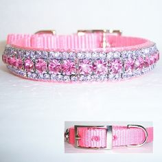 Oh so pretty crystal pet collar made of pastel pink nylon decorated with rose and violet crystals. Beautiful pink collar.