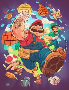 Super Mario Bros artwork by Maria Daniela Espinoza. Super Mario Bros, Game Character Design, Character Art, Totoro, Retro Videos, Fanart, Mario And Luigi, Video Game Characters, Geek Art