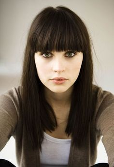 Straight hair cut is cool but if you want to spice it up a little bit, you can add full bangs.