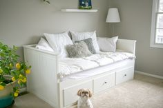 Ikea Hemnes Day Bed White €299. Definitely on my shopping list for sitting, sleeping & bedding storage