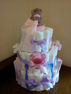 Nappy Cake for a baby girl