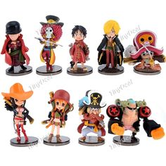 9 x Cartoon One Piece Theme Figure Doll Plaything Desktop Display Collection Toy One Piece Figure, Figurine One Piece, One Piece Theme, Blu Ray, Anime Dolls, One Punch Man, Anime Figures, 20th Anniversary, Doll Toys
