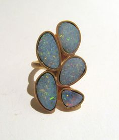 $239 Custom Fiery Multi Opal Ring In 18k gold One of a kind \\