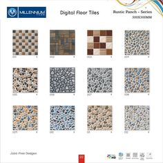 #Rustic Punch #Design - Millennium #Tiles 300X300mm (12x12) Digital Ceramic #3D Rustic Joint Free #Floor Tiles  - 001 - 002 - 003 - 004 - 005 - 006 - 007 - 008 - 009 - 010 - 011 - 012  #pebbles #homeimprovement #terrace #landscapedesign