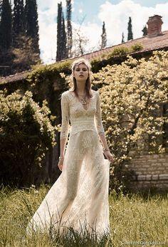 christos costarellos spring 2018 bridal three quarter sleeves v neck full embellishment romantic bohemian soft a  line wedding dress medium train (33) mv -- Costarellos Spring 2018 Wedding Dresses