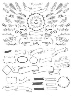 HandSketched Vector Elements Pack by Nicky Laatz on Creative Market HandSketched Vector Elements Pack by Nicky Laatz on. Png Floral, Hand Drawn Border, Pastel Designs, Arte Tribal, Hand Sketch, Vector Shapes, Chalkboard Art, Doodle Art, Design Bundles