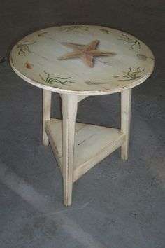 Hand Painted Seascape End Table