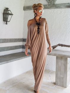 Taupe Maxi Long Sleeve Dress / Taupe Kaftan / Asymmetric Plus Size Dress / Oversize Loose Dress / #35045 by SynthiaCouture on Etsy