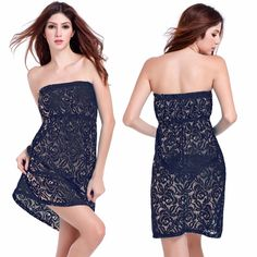 a07e9eafbc Aliexpress.com   Buy Hot Sale Sexy Tube Top Ladies Hollow Lace Beach Dress  Loose Strapless Sleeveless Swimsuit Cover Up Beachwear Swim Suit from  Reliable ...