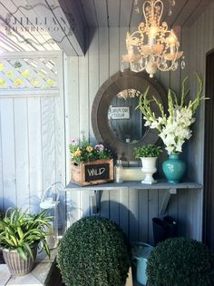 Decorating the patio  Shelf with plants on wall