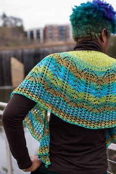 Each to Each: A beaded crescent shaped shawl worked in a gradient sock blank…