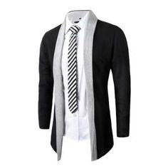 Stylish Sleek Dual-Color Cotton Slim Long-Sleeve Fashion Men's Sweater Jacket M-2XL 2 Colors