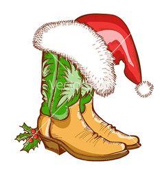 horseshoe boot cowboy hat | Christmas cowboy boots and santa hat vector