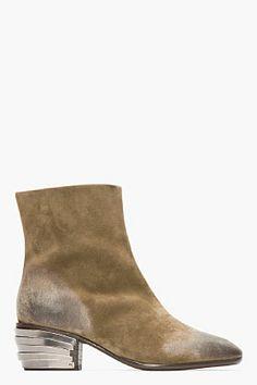 GIUSEPPE ZANOTTI KHAKI SUEDE ARMORED-HEEL BOOTS - http://africanluxurymag.com/shop-item/giuseppe-zanotti-khaki-suede-armored-heel-boots/