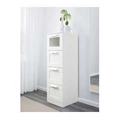 IKEA - BRIMNES, 4-drawer chest, white/frosted glass, , Of course your home should be a safe place for the entire family. That's why a safety fitting is included so that you can attach the chest of drawers to the wall.This high chest gives you plenty of storage without taking up too much room.Smooth running drawers with pull-out stop.