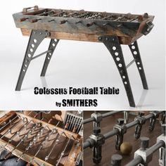 Vintage Industrial Football Table Reclaim & Recycled From Steel Reclaimed Wood. This Is A Retro Limited Edition Commission Order Contact us Today And Buy The BEST Football Table In The World At Smithers Online Store Recycled Wood Furniture, Wood Furniture Store, Furniture Design, Game Room Tables, Shuffleboard Table, Restaurant Furniture, Wood Design, Wood Projects, Football Accessories