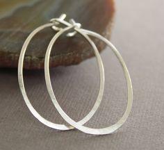 Artisan simple oval shape hoop sterling silver by IngoDesign, $24.00