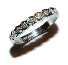 Fully Hallmarked 18ct White Gold & Diamond ½  Eternity Ring (UK Size: J)
