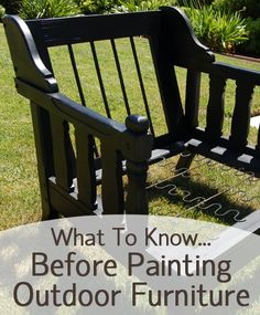 What To Know Before Painting Outdoor Furniture is part of furniture Website Painting Tips - You can give your outdoor furniture a facelift by painting it! However, there are a few things you need to… Read Painted Outdoor Furniture, Paint Furniture, Furniture Projects, Furniture Makeover, Porch Furniture, Antique Furniture, Furniture Logo, Distressed Furniture, Wooden Furniture