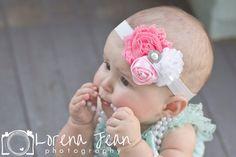 Baby Headband, Shabby flower headband, newborn headband, Satin Rosette headband, Baby girl Headbands, toddler headband,