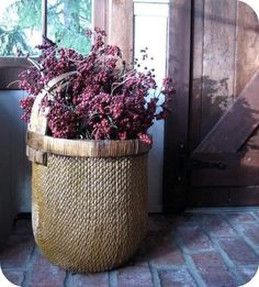 Sweet old basket with berries, brick floor. Old Baskets, Vintage Baskets, Wicker Baskets, French Baskets, Woven Baskets, Deco Floral, Plum Color, Flower Basket, Country Decor