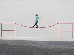Beitrag über Street Art in Vacouver und den Graffiti Künstler iHeart Stencils  Title: Tightrope