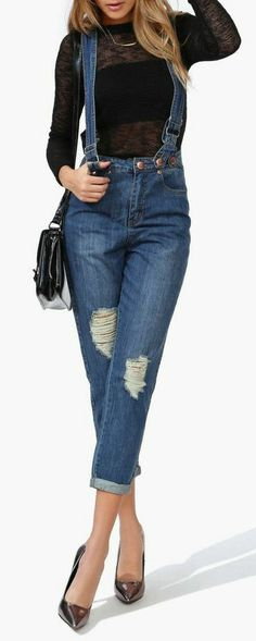 Suspender Jeans ... If they were bell bottoms they would be SO much cuter!