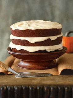 Layers of cake cushioned with pumpkin cream-cheese frosting create a lasting impression even before you take the first bite.