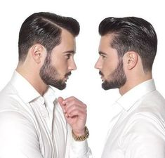 slicked back men's pompadour hairstyle: