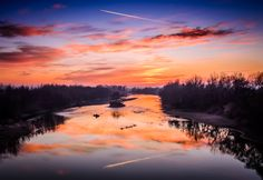 Sunset by the river by Dominique Toussaint on Reflection, River, Explore, Mountains, Sunsets, Nature, Naturaleza, Nature Illustration, Off Grid