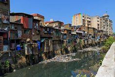 Slums in Dharavi, Mumbai, India.