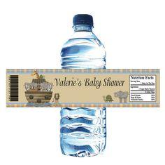 noah's ark baby shower - water bottle label idea